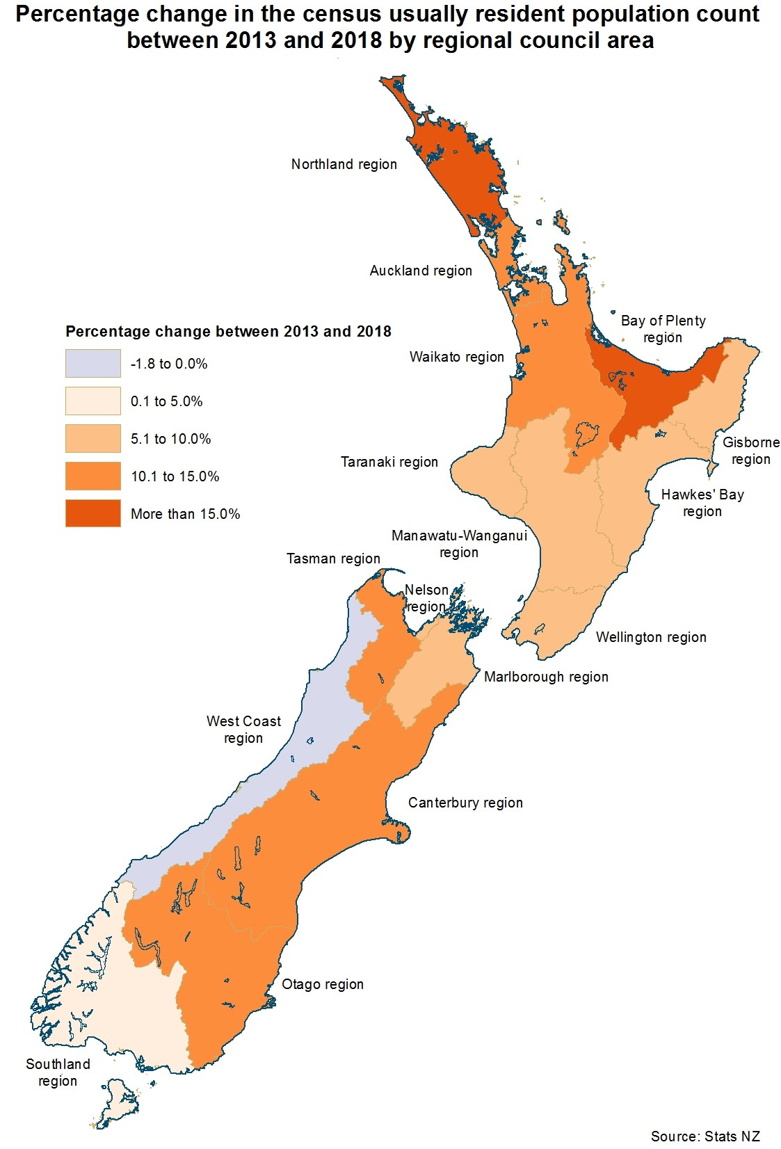 New Zealand District Council Map.2018 Census Population And Dwelling Counts Stats Nz