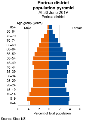Graph showing Porirua district population pyramid, at 30 June 2019. Text alternative available below graph.